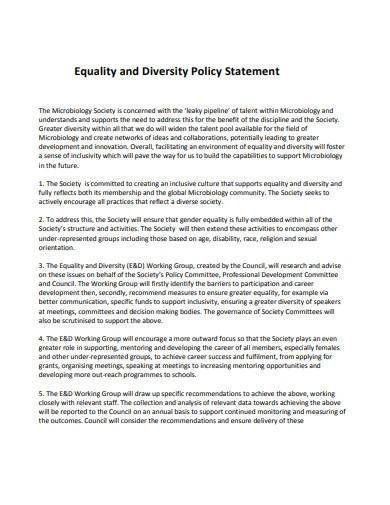 equality and diversity policy statement