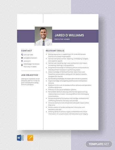 executive admin resume template