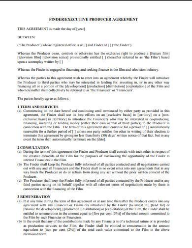 executive producer agreement sample