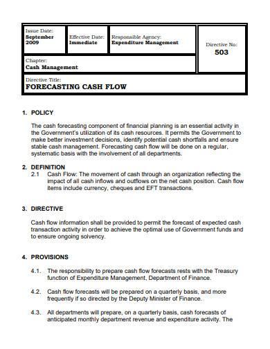 financial cash flow forecasting template