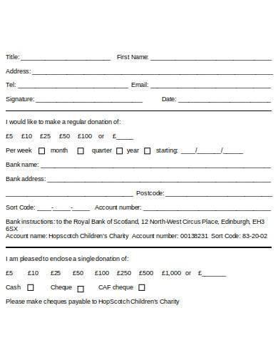 formal charity direct debit form