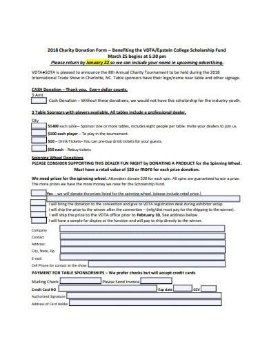 formal charity donation form