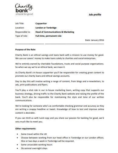 formal charity job profile