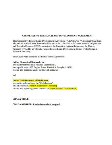 formal cooperative research and development agreement