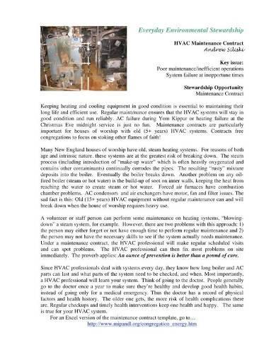formal hvac maintenance contract