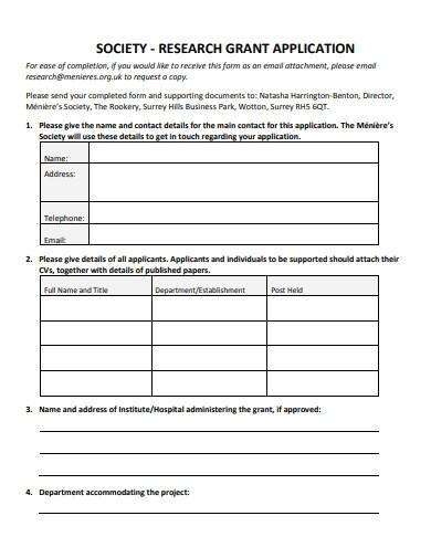 formal research grant application