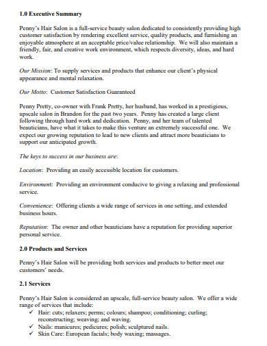 formal salon business plan