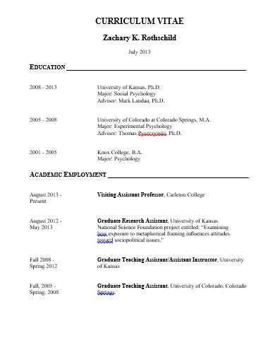 format of research assistant cv template
