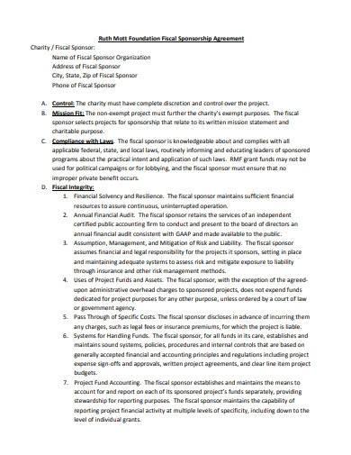 foundation fiscal sponsorship agreement