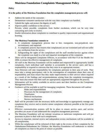 foundation management complaints policy template