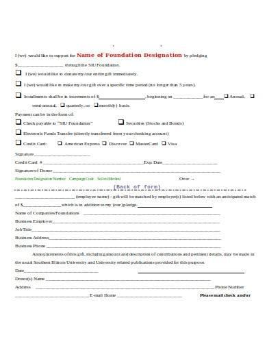 foundation pledge form template