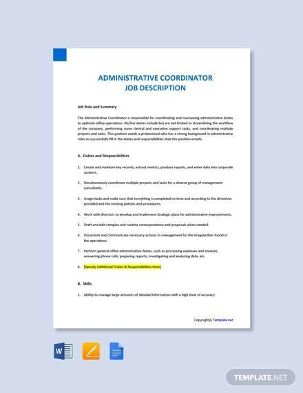 free administrative coordinator job description template