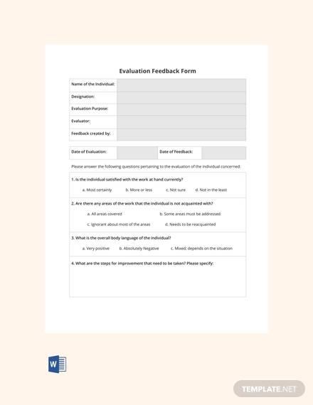 free blank hr evaluation feedback form