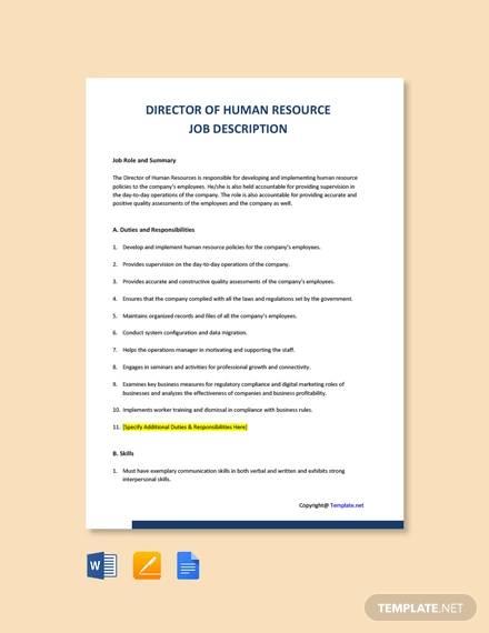 free director of human resources job description template