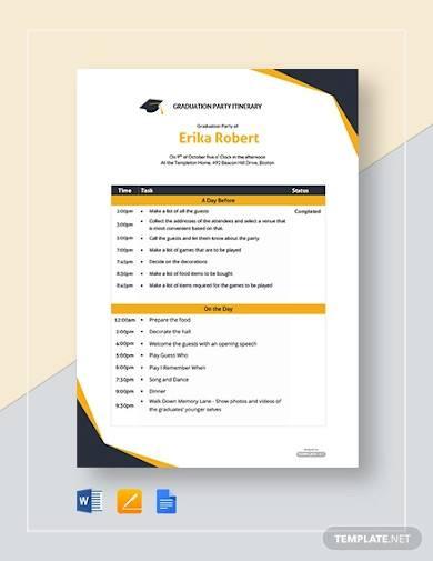 free graduation party itinerary