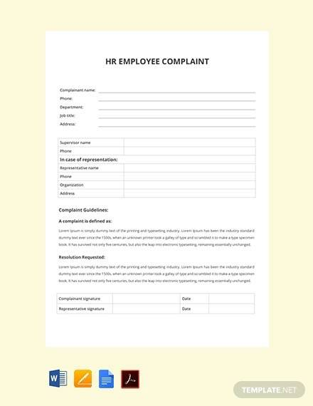 free hr employee complaint form