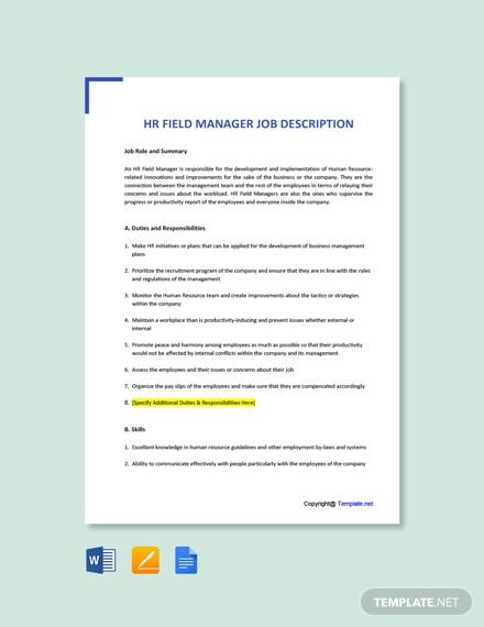 free hr field manager job description template