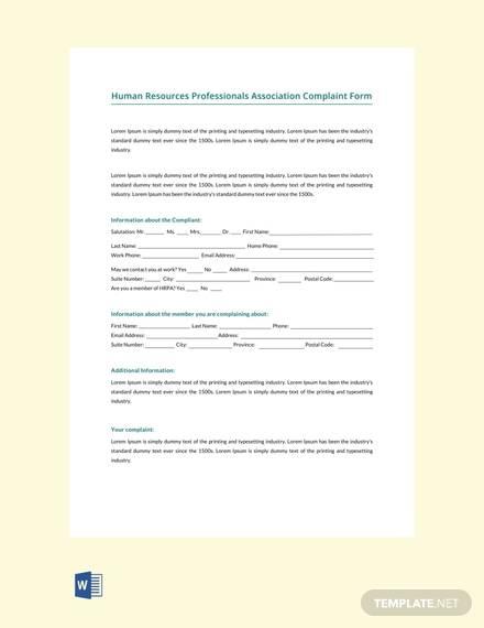 free hr professionals association complaint form