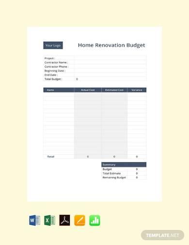 free home renovation budget