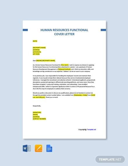 free human resources functional cover letter template