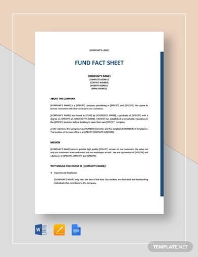fund fact sheet template