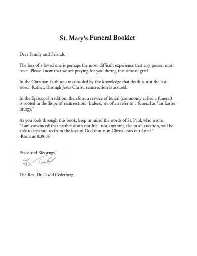 funeral booklet sample
