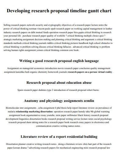 gantt chart timeline research proposal template