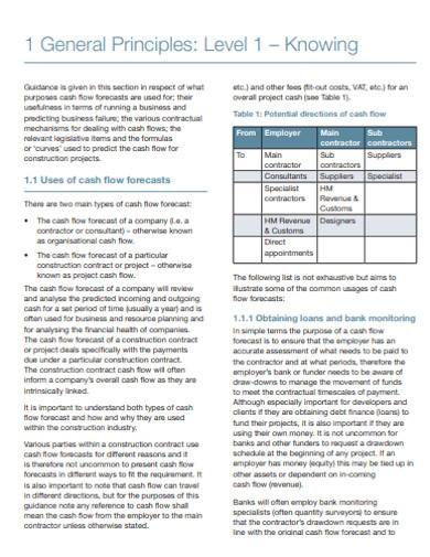 general cash flow forecasting template