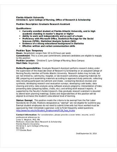 graduate research assistant cv