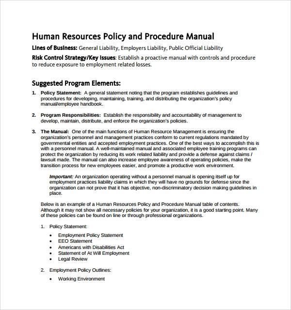 hr policies procedures manual template