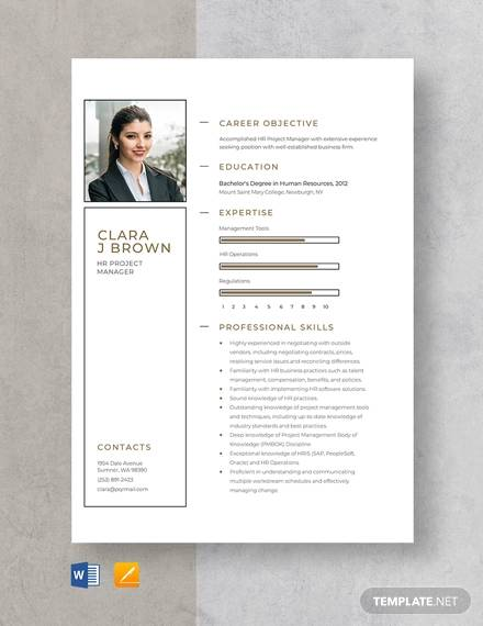 hr project manager resume template