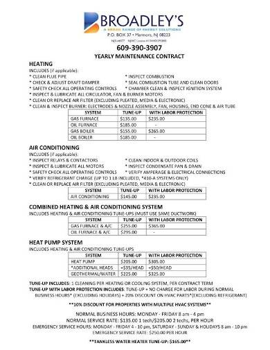 hvac residential maintenance contract