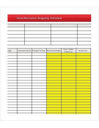 home renovation budgeting worksheet