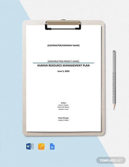 hr management plan for a construction project template1