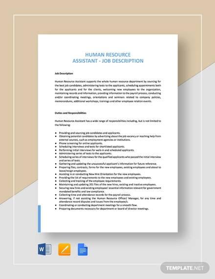 human resources assistant job description template1