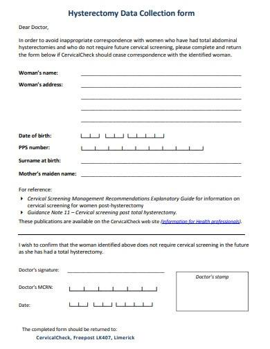 hysterectomy data collection form