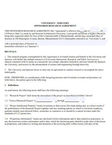 industry sponsored research agreement