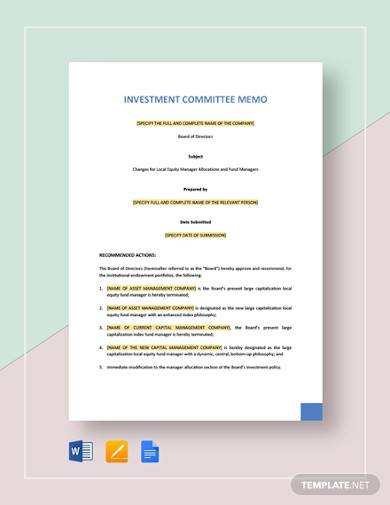 investment committee memo sample