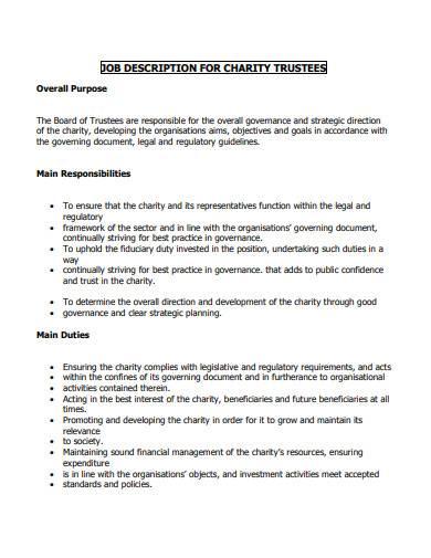 job description for charity trustees
