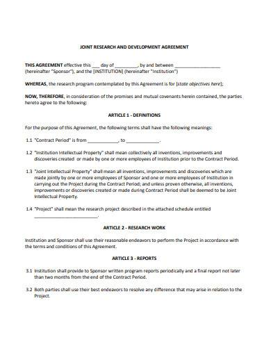 joint research development agreement