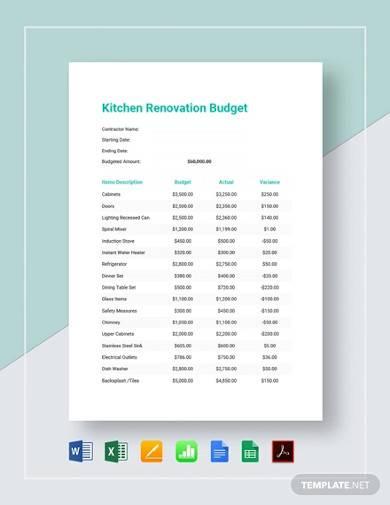 kitchen renovation budget template