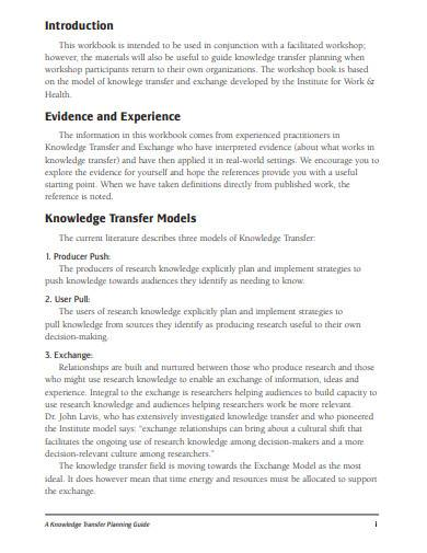 knowledge transfer planning guide