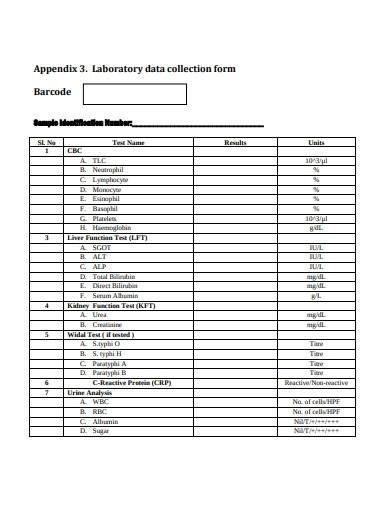 laboratory data collection form