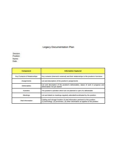 legacy documentation plan sample