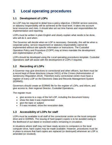 local operating procedures template