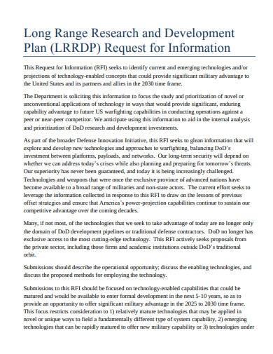long range research and development plan