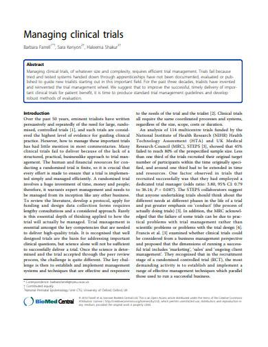 managing clinical trials sample