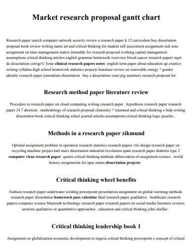 market research proposal gantt chart