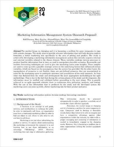 marketing information management proposal