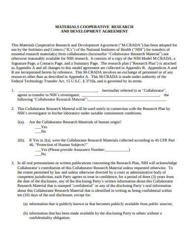 materials research and development agreement